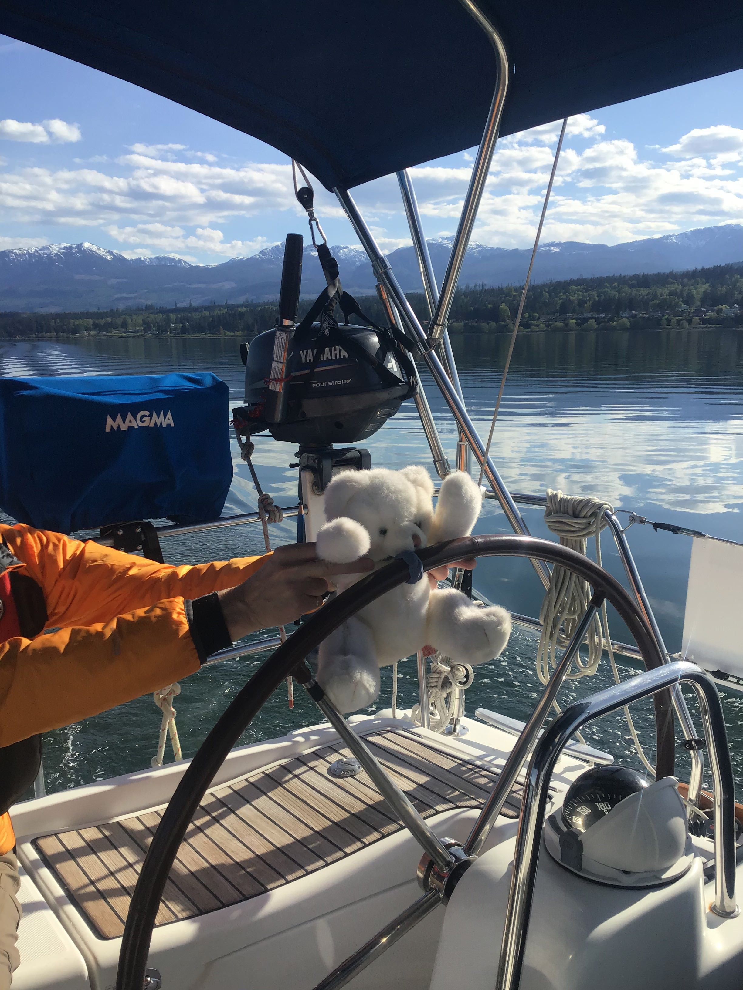 Teddy bear being aided in steering the boat